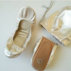 GAP Gold Metallic Leather Ballet Flat Fold Up Shoe